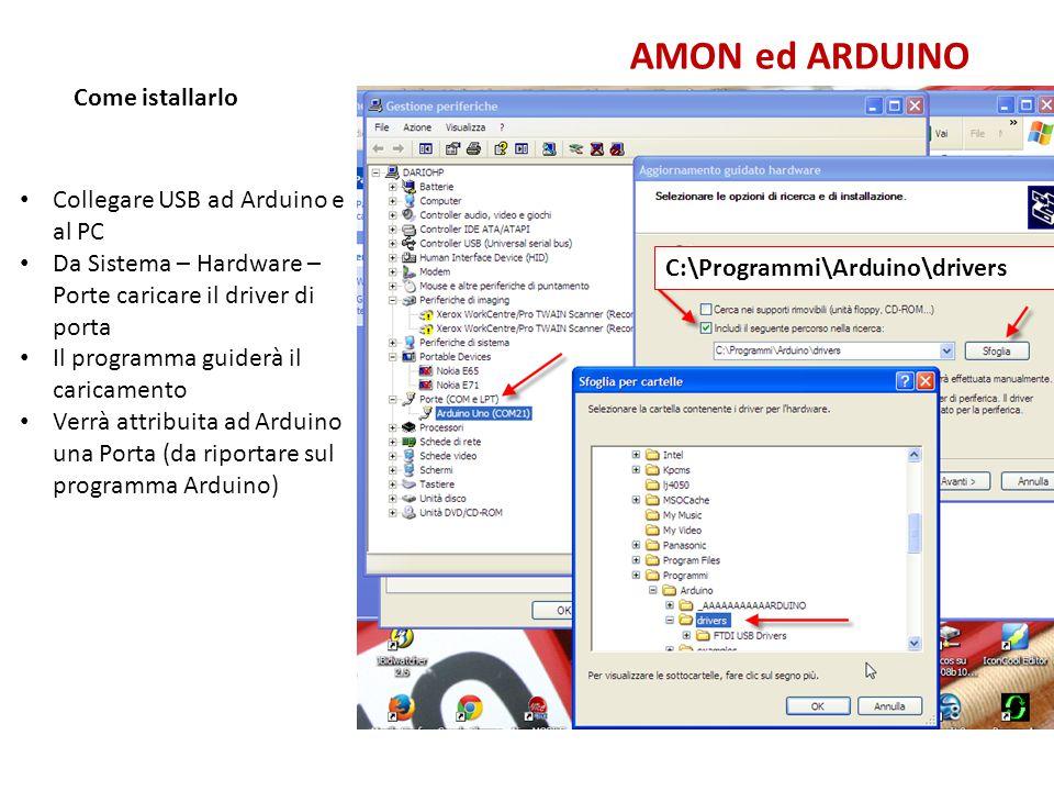 AMON ed ARDUINO Come istallarlo Collegare USB ad Arduino e al PC Da Sistema – Hardware – Porte caricare il driver di porta Il programma guiderà il car