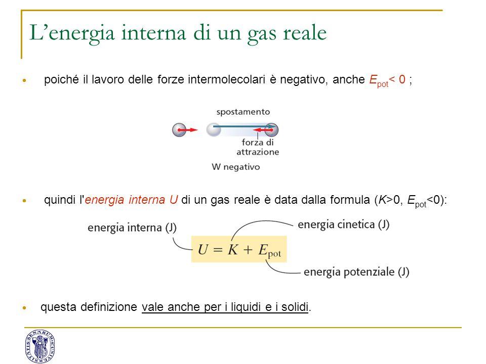  poiché il lavoro delle forze intermolecolari è negativo, anche E pot < 0 ;  quindi l'energia interna U di un gas reale è data dalla formula (K>0, E
