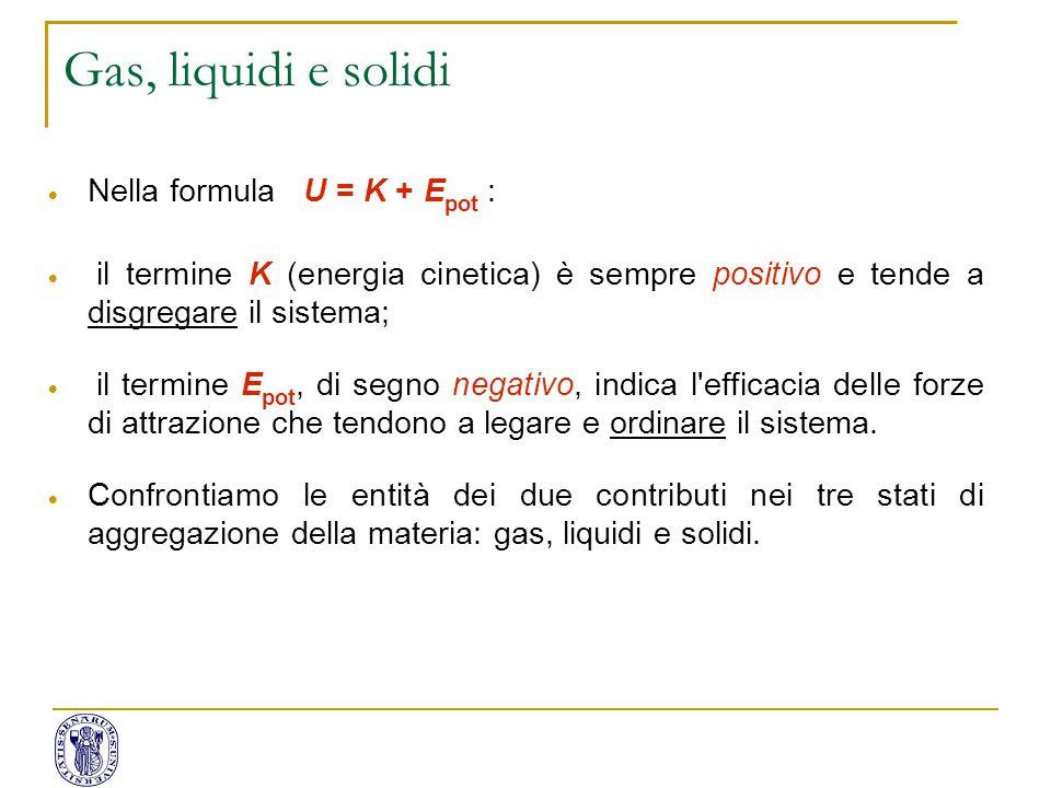  Nella formula U = K + E pot :  il termine K (energia cinetica) è sempre positivo e tende a disgregare il sistema;  il termine E pot, di segno nega