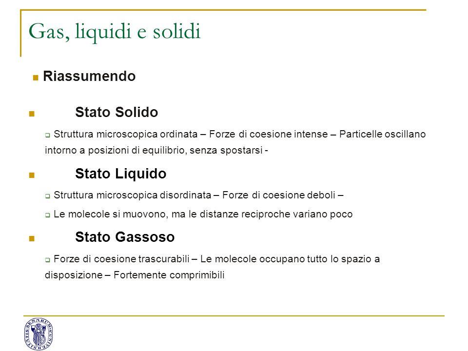 Gas, liquidi e solidi Stato Solido  Struttura microscopica ordinata – Forze di coesione intense – Particelle oscillano intorno a posizioni di equilib