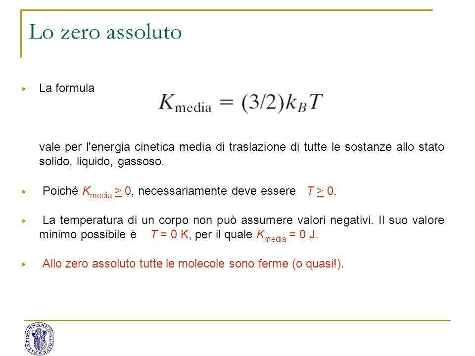  La formula vale per l'energia cinetica media di traslazione di tutte le sostanze allo stato solido, liquido, gassoso.  Poiché K media > 0, necessar