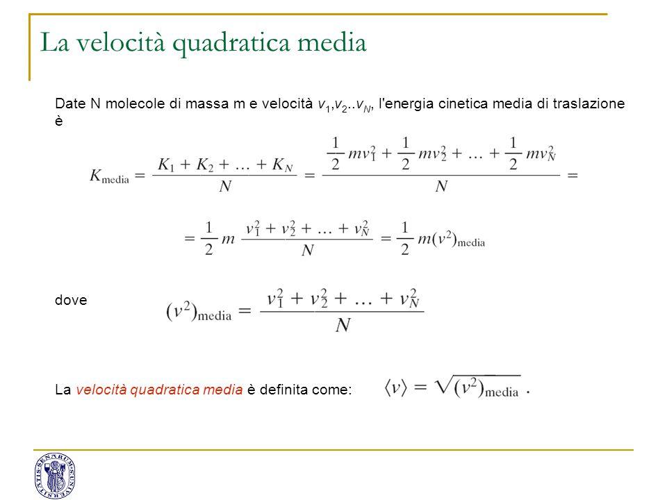 Date N molecole di massa m e velocità v 1,v 2..v N, l'energia cinetica media di traslazione è dove La velocità quadratica media è definita come: La ve