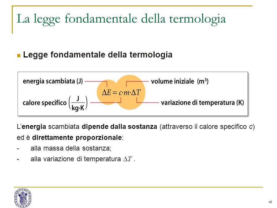 46 La legge fondamentale della termologia Legge fondamentale della termologia L'energia scambiata dipende dalla sostanza (attraverso il calore specifi