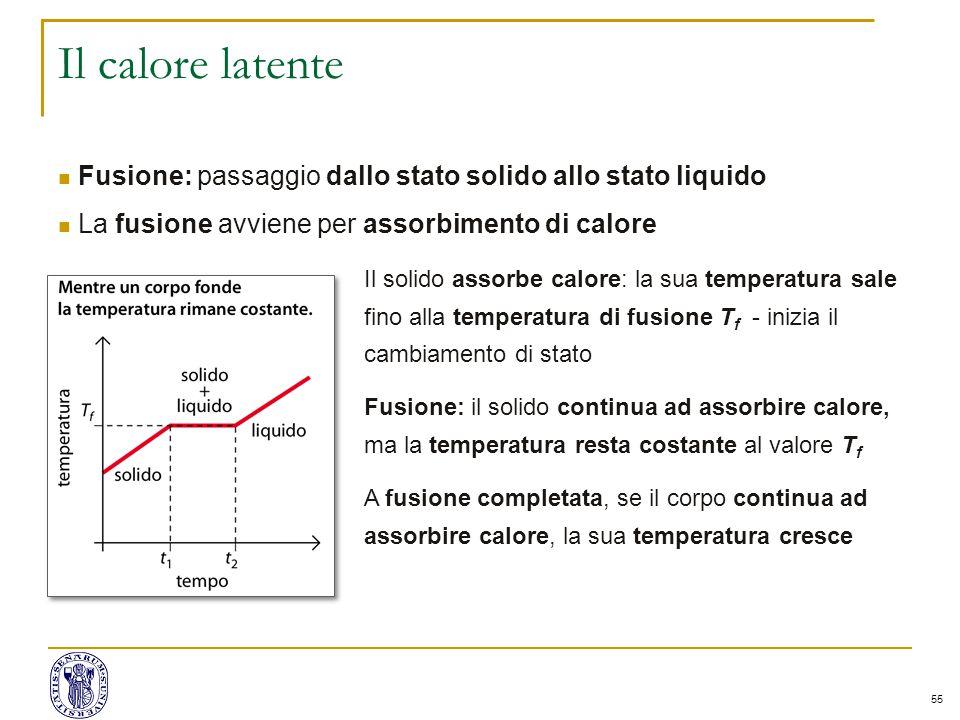 55 Il calore latente Fusione: passaggio dallo stato solido allo stato liquido La fusione avviene per assorbimento di calore Il solido assorbe calore: