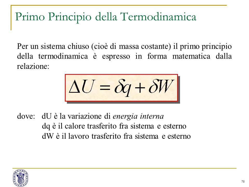 78 Primo Principio della Termodinamica Per un sistema chiuso (cioè di massa costante) il primo principio della termodinamica è espresso in forma matem