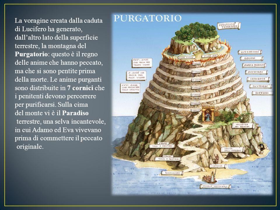 La voragine creata dalla caduta di Lucifero ha generato, dall'altro lato della superficie terrestre, la montagna del Purgatorio: questo è il regno del