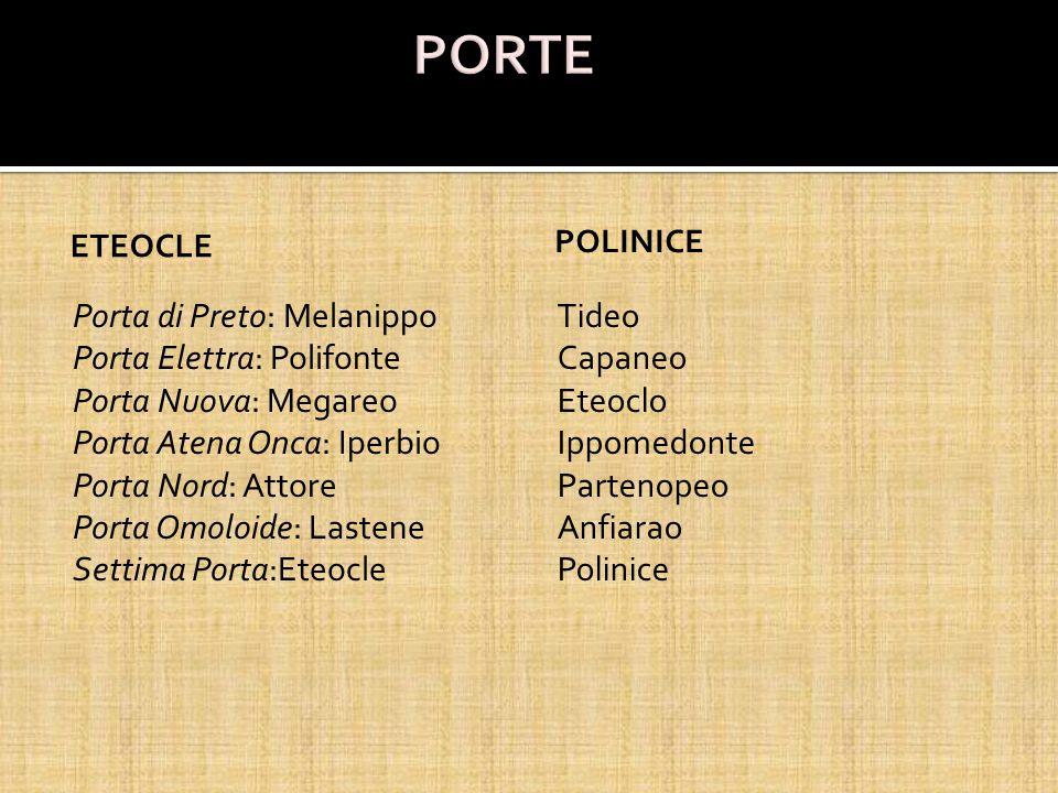 ETEOCLE Porta di Preto: Melanippo Porta Elettra: Polifonte Porta Nuova: Megareo Porta Atena Onca: Iperbio Porta Nord: Attore Porta Omoloide: Lastene S