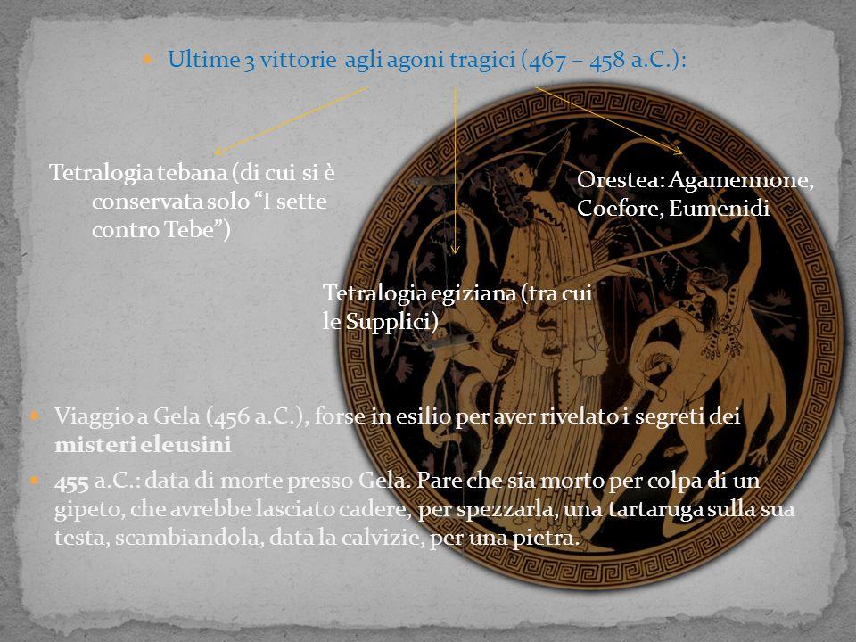 Ultime 3 vittorie agli agoni tragici (467 – 458 a.C.): Viaggio a Gela (456 a.C.), forse in esilio per aver rivelato i segreti dei misteri eleusini 455