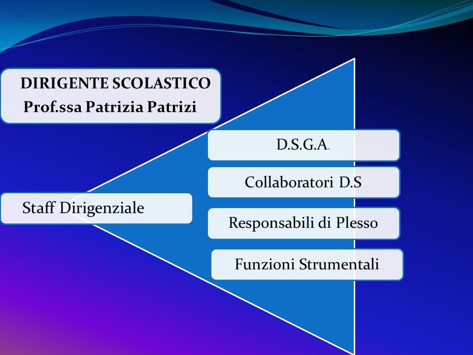 DIRIGENTE SCOLASTICO Prof.ssa Patrizia Patrizi Staff Dirigenziale D.S.G.A. Collaboratori D.S Responsabili di Plesso Funzioni Strumentali