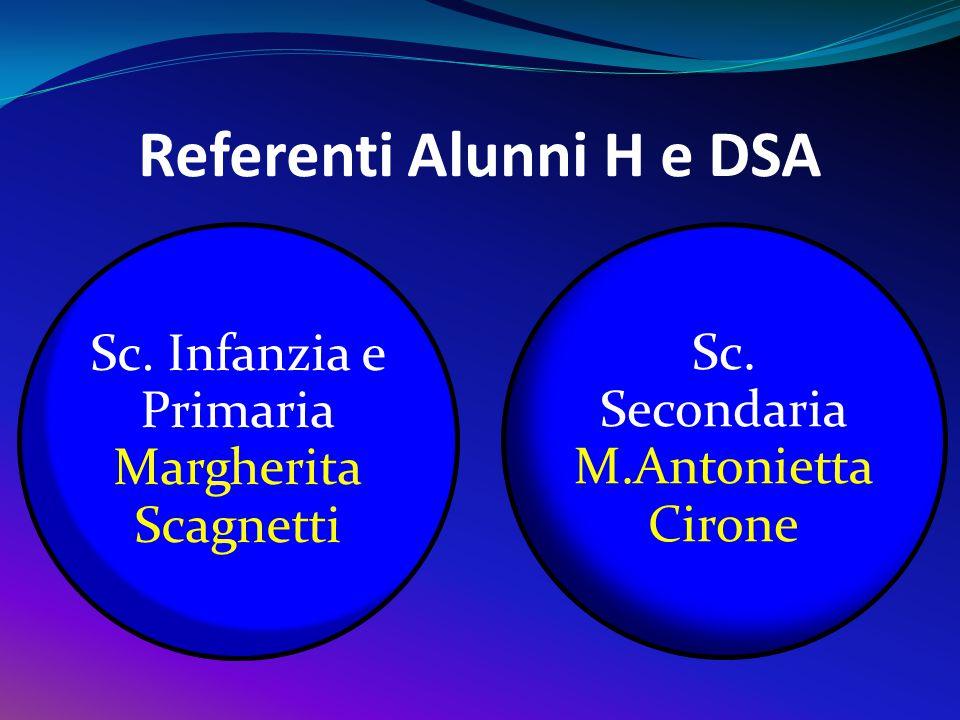 Referenti Alunni H e DSA Sc. Infanzia e Primaria Margherita Scagnetti Sc. Secondaria M.Antonietta Cirone