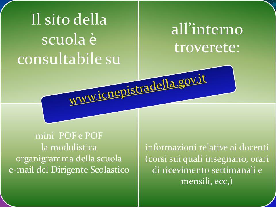 Il sito della scuola è consultabile su all'interno troverete: mini POF e POF la modulistica organigramma della scuola e-mail del Dirigente Scolastico