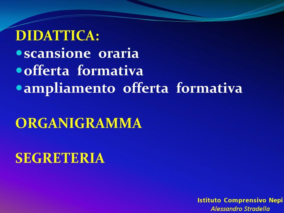 Istituto Comprensivo Nepi Alessandro Stradella DIDATTICA: scansione oraria offerta formativa ampliamento offerta formativa ORGANIGRAMMA SEGRETERIA