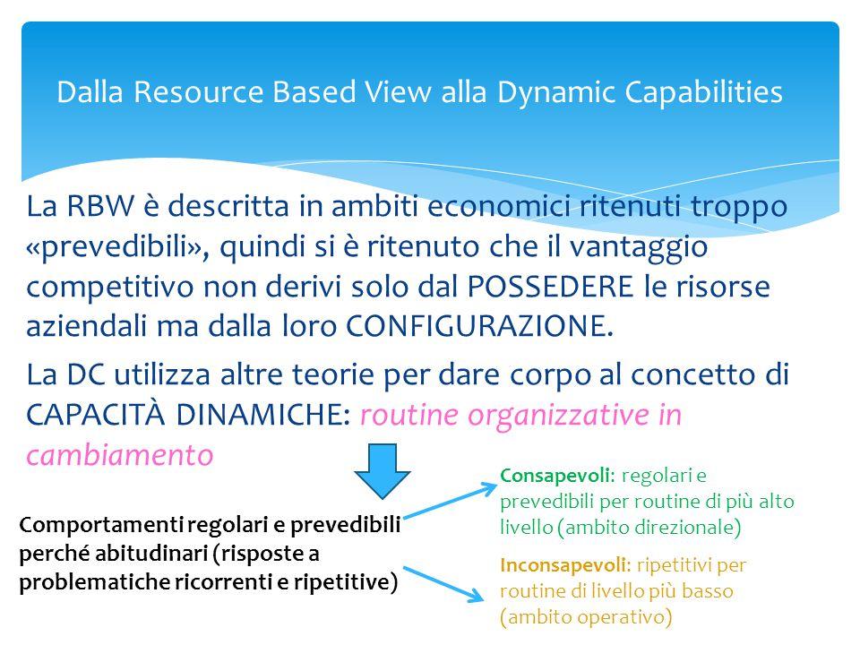 Dalla Resource Based View alla Dynamic Capabilities La RBW è descritta in ambiti economici ritenuti troppo «prevedibili», quindi si è ritenuto che il