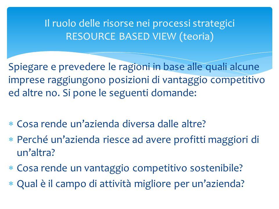 Il ruolo delle risorse nei processi strategici RESOURCE BASED VIEW (teoria)  C'è una critica alla catena del valore che pure viene considerata da tutte le teorie che argomentano sulle strategie ASA e Corporate perché è sempre «subordinata»  Si suggerisce di procedere nel seguente modo: 1.individuazione delle risorse e competenze distintive dell'azienda; 2.ricerca del mercato in cui quelle risorse e competenze possono essere sfruttate; 3.formulazione delle strategie per il raggiungimento di una posizione di vantaggio competitivo