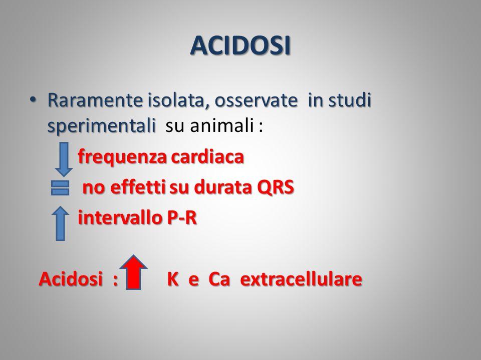 ACIDOSI Raramente isolata, osservate in studi sperimentali Raramente isolata, osservate in studi sperimentali su animali : frequenza cardiaca no effet
