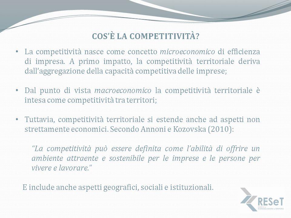 L'EUROPEAN REGIONAL COMPETITIVENESS INDEX L'EU RCI è un indice di competitività costruito dalla sintesi di 73 variabili raggruppate in 11 sottopilastri e tre pilastri che compongono l'indice globale.