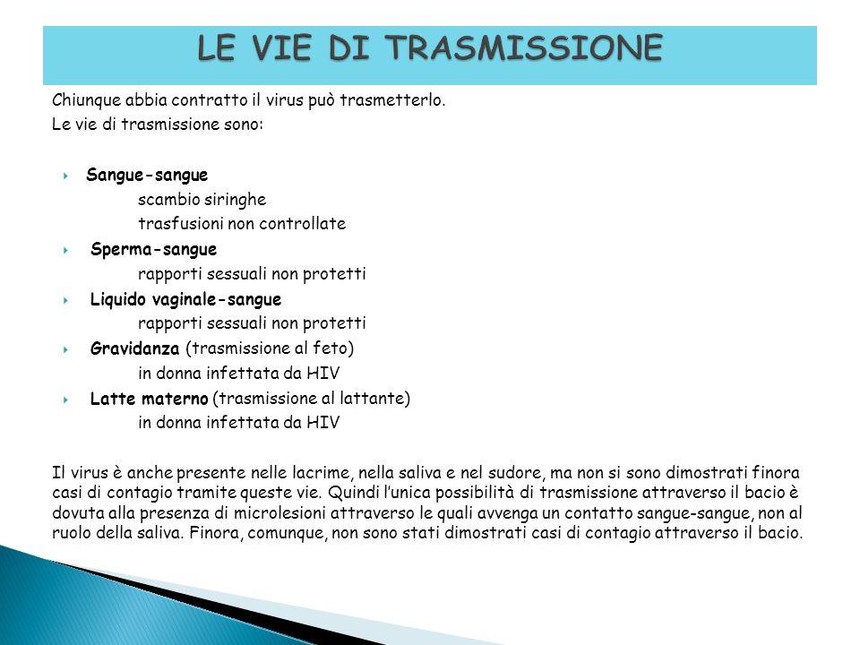 Chiunque abbia contratto il virus può trasmetterlo. Le vie di trasmissione sono:  Sangue-sangue scambio siringhe trasfusioni non controllate  Sperma
