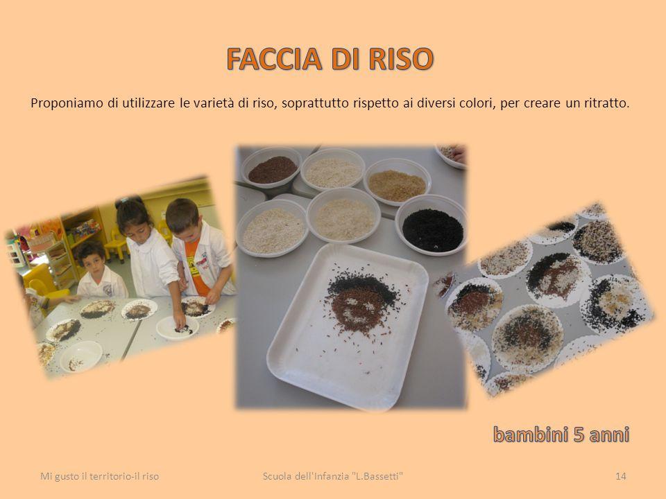 Proponiamo di utilizzare le varietà di riso, soprattutto rispetto ai diversi colori, per creare un ritratto. Scuola dell'Infanzia