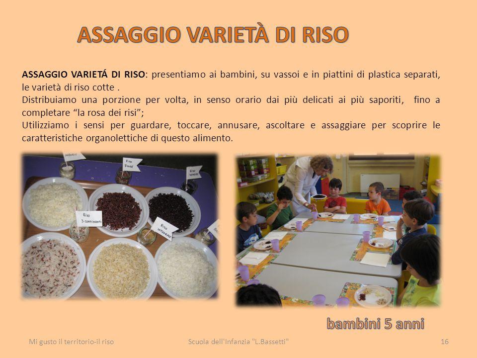 ASSAGGIO VARIETÁ DI RISO: presentiamo ai bambini, su vassoi e in piattini di plastica separati, le varietà di riso cotte. Distribuiamo una porzione pe