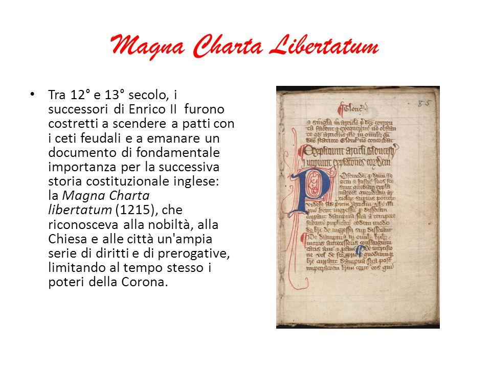 Magna Charta Libertatum Tra 12° e 13° secolo, i successori di Enrico II furono costretti a scendere a patti con i ceti feudali e a emanare un document