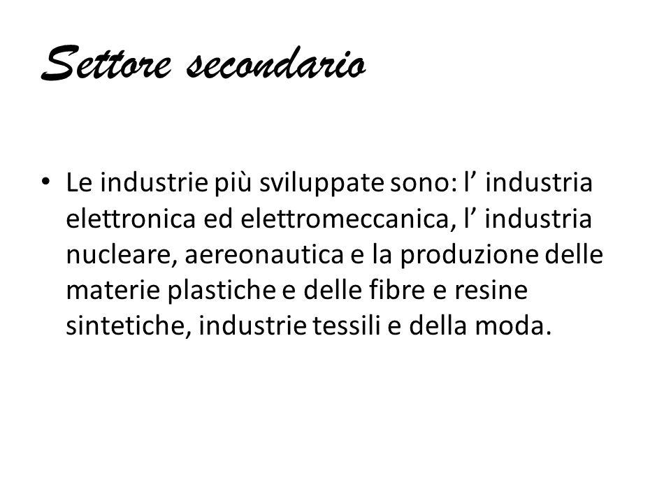 Settore secondario Le industrie più sviluppate sono: l' industria elettronica ed elettromeccanica, l' industria nucleare, aereonautica e la produzione