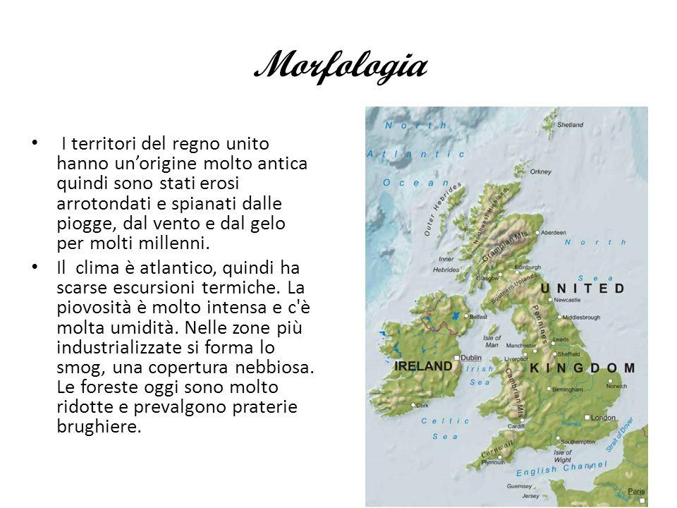 Morfologia I territori del regno unito hanno un'origine molto antica quindi sono stati erosi arrotondati e spianati dalle piogge, dal vento e dal gelo