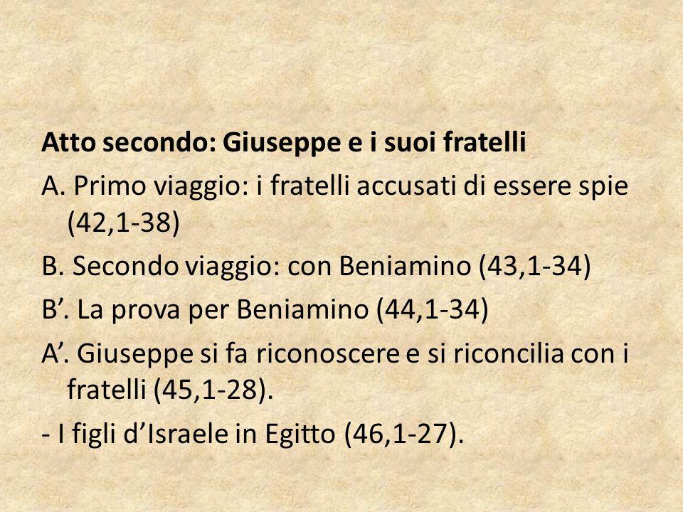Atto secondo: Giuseppe e i suoi fratelli A. Primo viaggio: i fratelli accusati di essere spie (42,1-38) B. Secondo viaggio: con Beniamino (43,1-34) B'