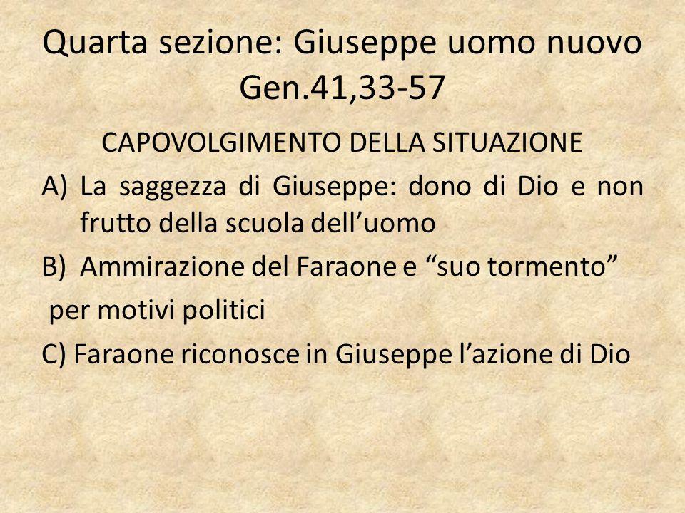 Quarta sezione: Giuseppe uomo nuovo Gen.41,33-57 CAPOVOLGIMENTO DELLA SITUAZIONE A)La saggezza di Giuseppe: dono di Dio e non frutto della scuola dell
