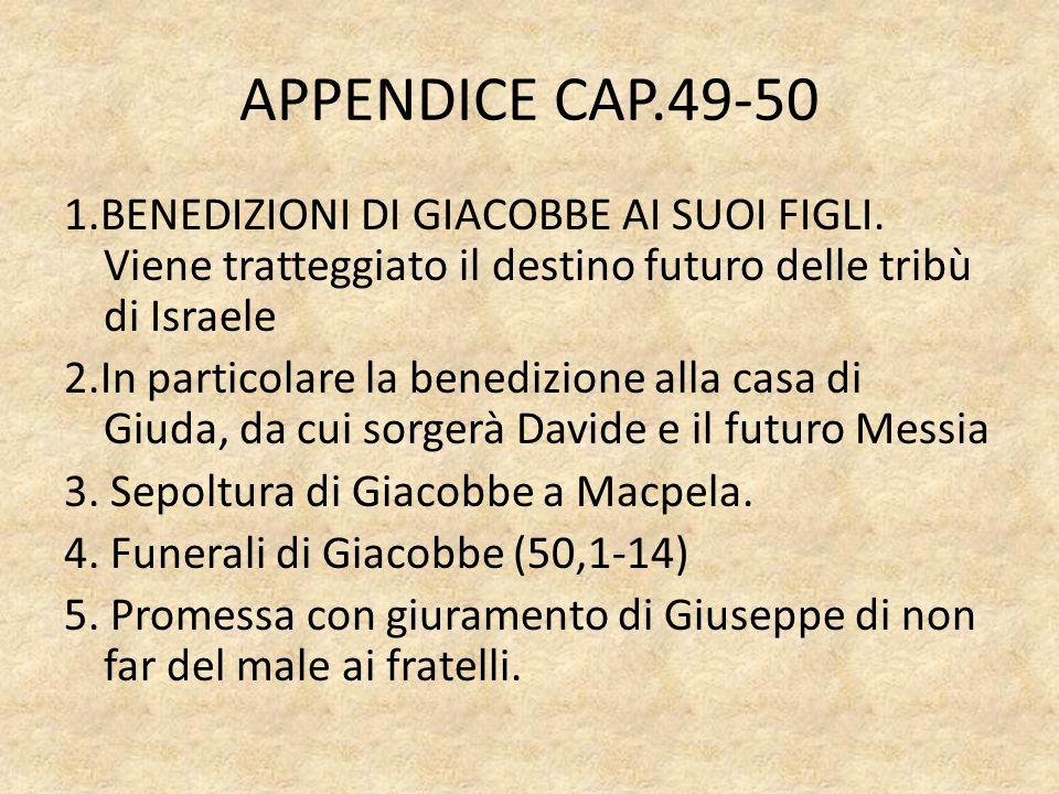 APPENDICE CAP.49-50 1.BENEDIZIONI DI GIACOBBE AI SUOI FIGLI.