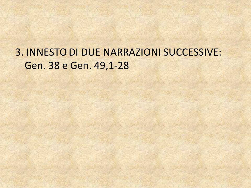 3. INNESTO DI DUE NARRAZIONI SUCCESSIVE: Gen. 38 e Gen. 49,1-28