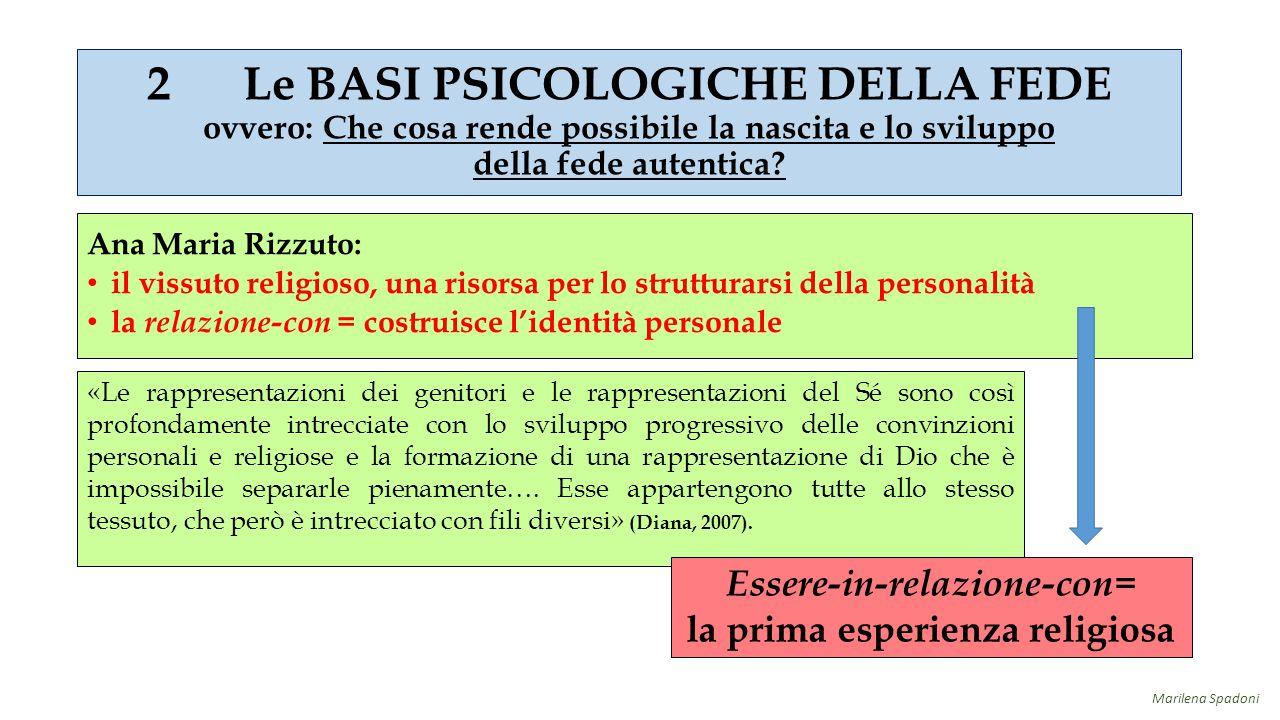 Ana Maria Rizzuto: il vissuto religioso, una risorsa per lo strutturarsi della personalità la relazione-con = costruisce l'identità personale «Le rapp