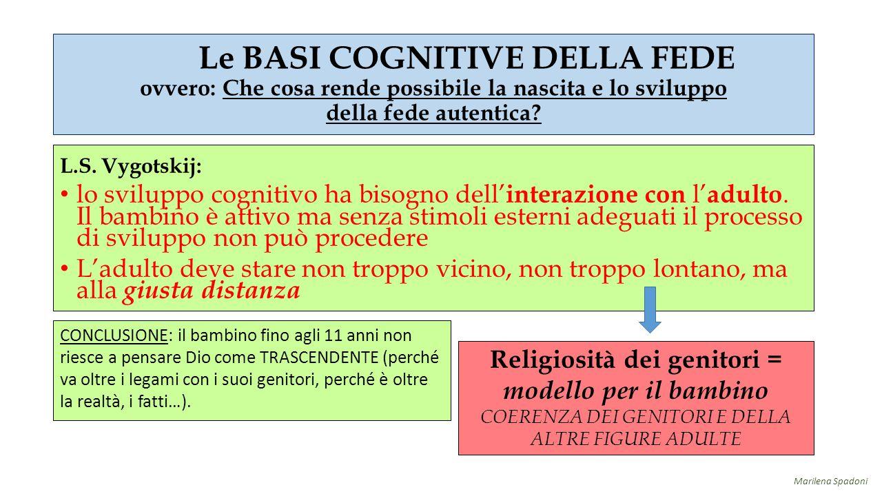 L.S. Vygotskij: lo sviluppo cognitivo ha bisogno dell' interazione con l' adulto. Il bambino è attivo ma senza stimoli esterni adeguati il processo di