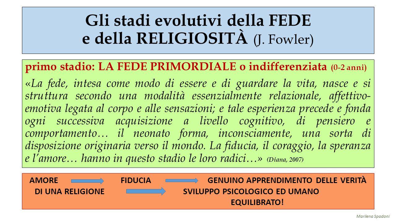 Gli stadi evolutivi della FEDE e della RELIGIOSITÀ (J. Fowler) primo stadio: LA FEDE PRIMORDIALE o indifferenziata (0-2 anni) « La fede, intesa come m