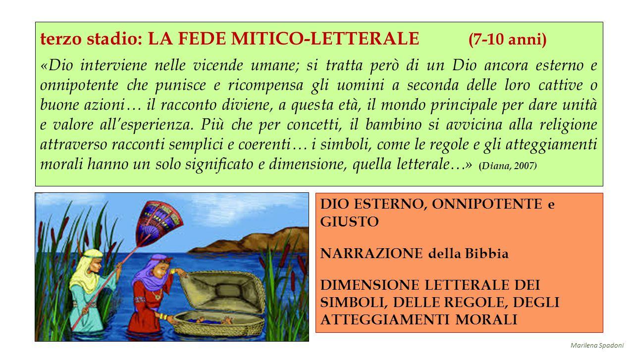 terzo stadio: LA FEDE MITICO-LETTERALE (7-10 anni) «Dio interviene nelle vicende umane; si tratta però di un Dio ancora esterno e onnipotente che puni