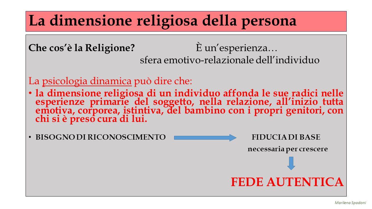 La dimensione religiosa della persona Che cos'è la Religione? È un'esperienza… sfera emotivo-relazionale dell'individuo La psicologia dinamica può dir