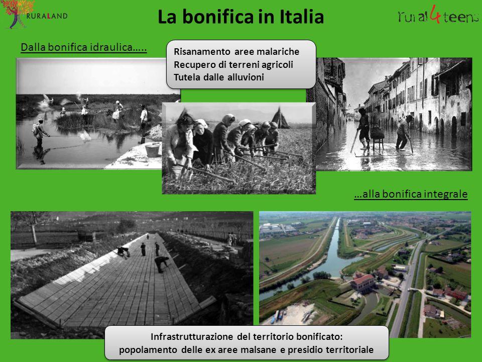 …alla bonifica integrale Dalla bonifica idraulica….. La bonifica in Italia Infrastrutturazione del territorio bonificato: popolamento delle ex aree ma