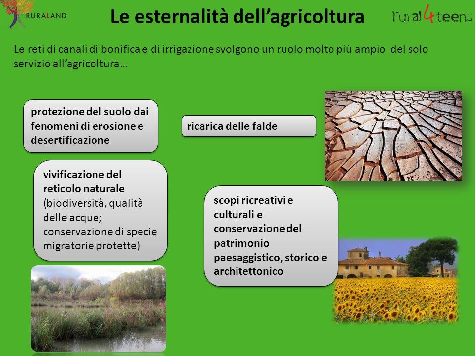 Le reti di canali di bonifica e di irrigazione svolgono un ruolo molto più ampio del solo servizio all'agricoltura… Le esternalità dell'agricoltura pr