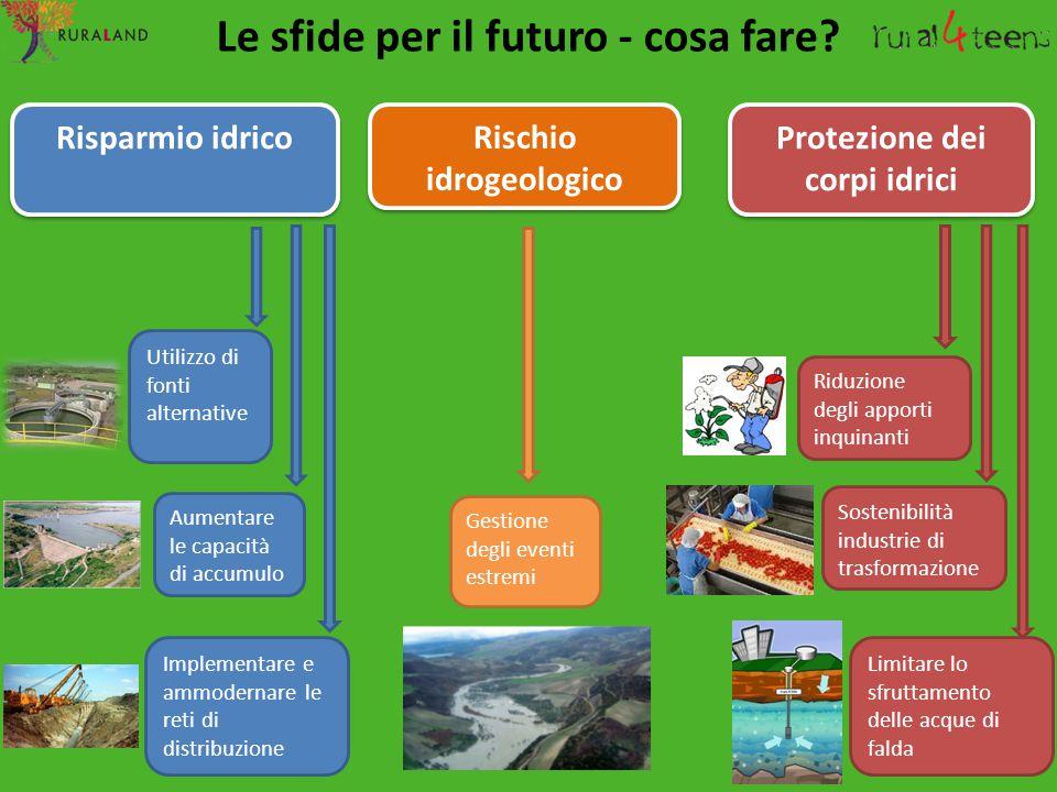 Le sfide per il futuro - cosa fare? Risparmio idrico Protezione dei corpi idrici Utilizzo di fonti alternative Aumentare le capacità di accumulo Imple
