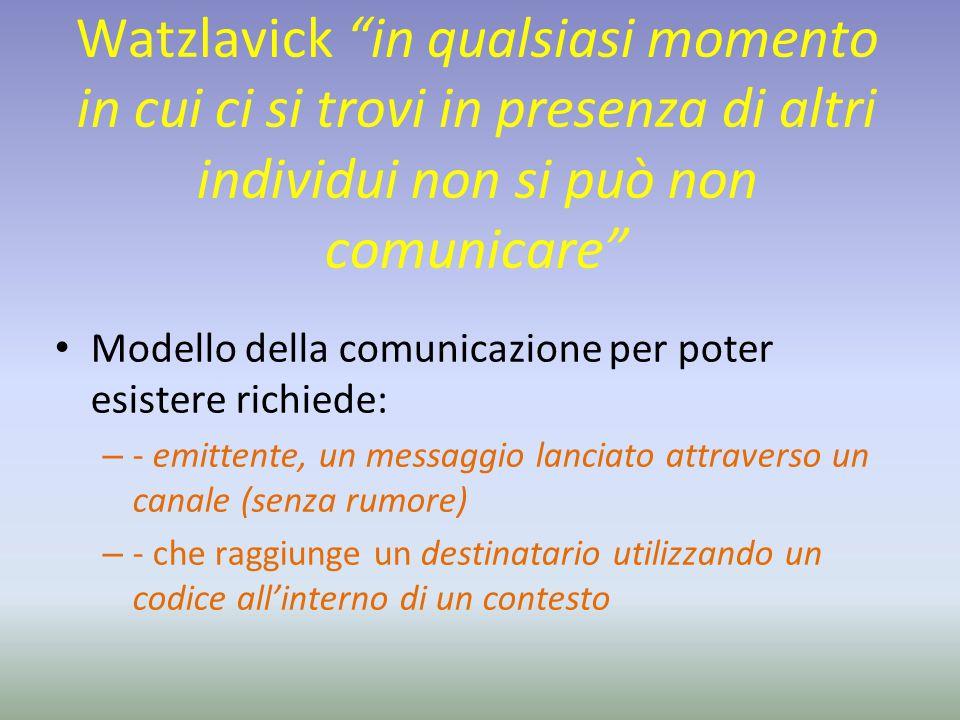 """Watzlavick """"in qualsiasi momento in cui ci si trovi in presenza di altri individui non si può non comunicare"""" Modello della comunicazione per poter es"""