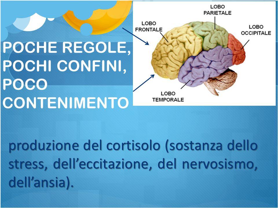 produzione del cortisolo (sostanza dello stress, dell'eccitazione, del nervosismo, dell'ansia). POCHE REGOLE, POCHI CONFINI, POCO CONTENIMENTO