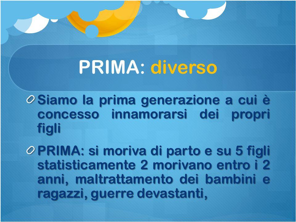 PRIMA: diverso Siamo la prima generazione a cui è concesso innamorarsi dei propri figli PRIMA: si moriva di parto e su 5 figli statisticamente 2 moriv
