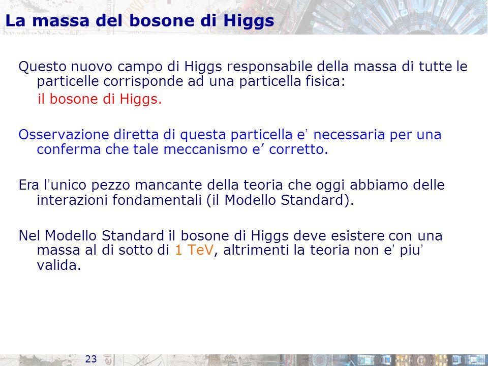 23 La massa del bosone di Higgs Questo nuovo campo di Higgs responsabile della massa di tutte le particelle corrisponde ad una particella fisica: il b