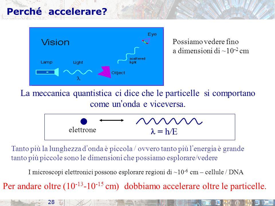 28 Perché accelerare? Possiamo vedere fino a dimensioni di ~10 -2 cm La meccanica quantistica ci dice che le particelle si comportano come un ' onda e