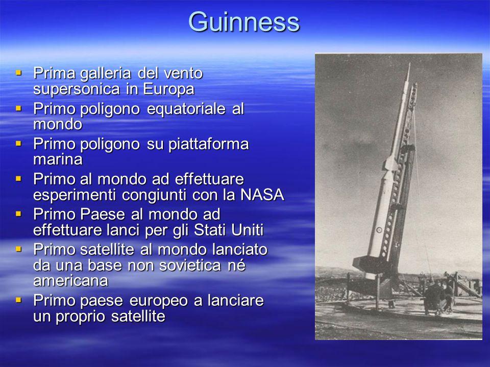 Guinness  Prima galleria del vento supersonica in Europa  Primo poligono equatoriale al mondo  Primo poligono su piattaforma marina  Primo al mond