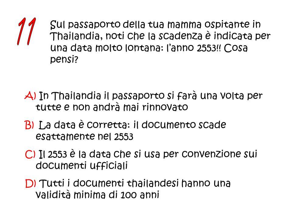 Sul passaporto della tua mamma ospitante in Thailandia, noti che la scadenza è indicata per una data molto lontana: l'anno 2553!.