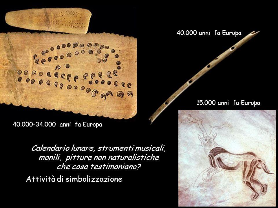 15.000 anni fa Europa Calendario lunare, strumenti musicali, monili, pitture non naturalistiche che cosa testimoniano.