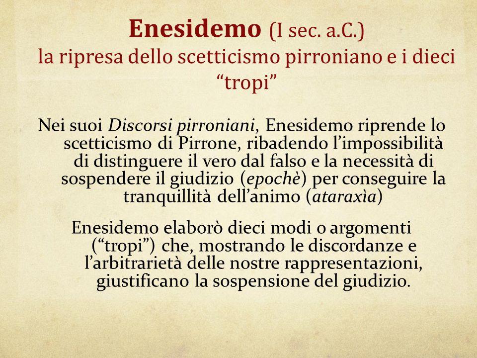 """Enesidemo (I sec. a.C.) la ripresa dello scetticismo pirroniano e i dieci """"tropi"""" Nei suoi Discorsi pirroniani, Enesidemo riprende lo scetticismo di P"""