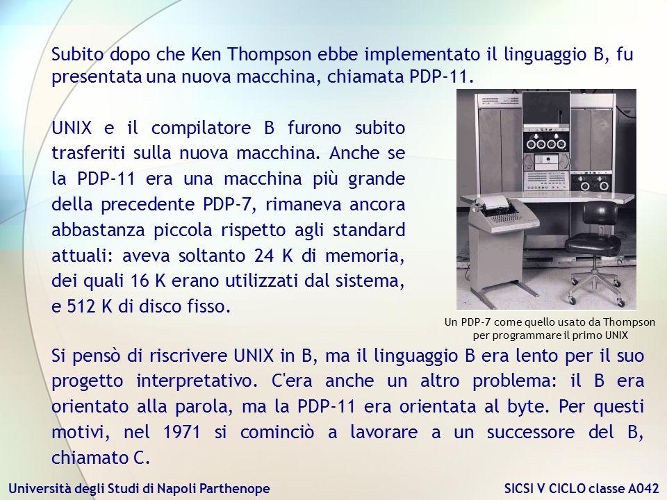 Università degli Studi di Napoli Parthenope SICSI V CICLO classe A042 UNIX e il compilatore B furono subito trasferiti sulla nuova macchina. Anche se