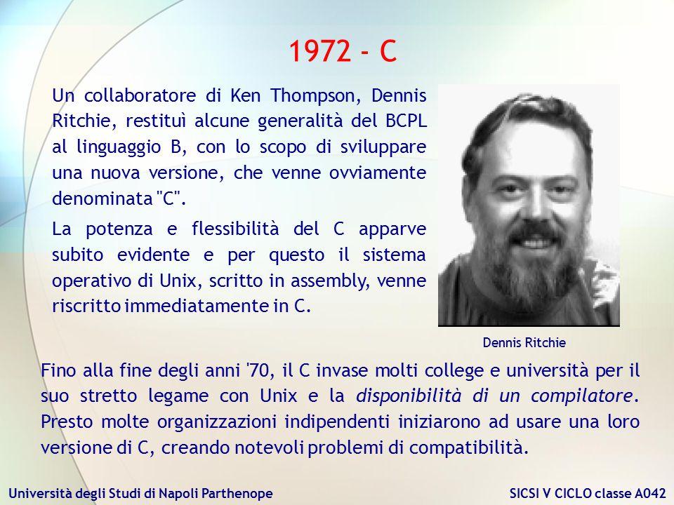 Università degli Studi di Napoli Parthenope SICSI V CICLO classe A042 1972 - C Fino alla fine degli anni '70, il C invase molti college e università p