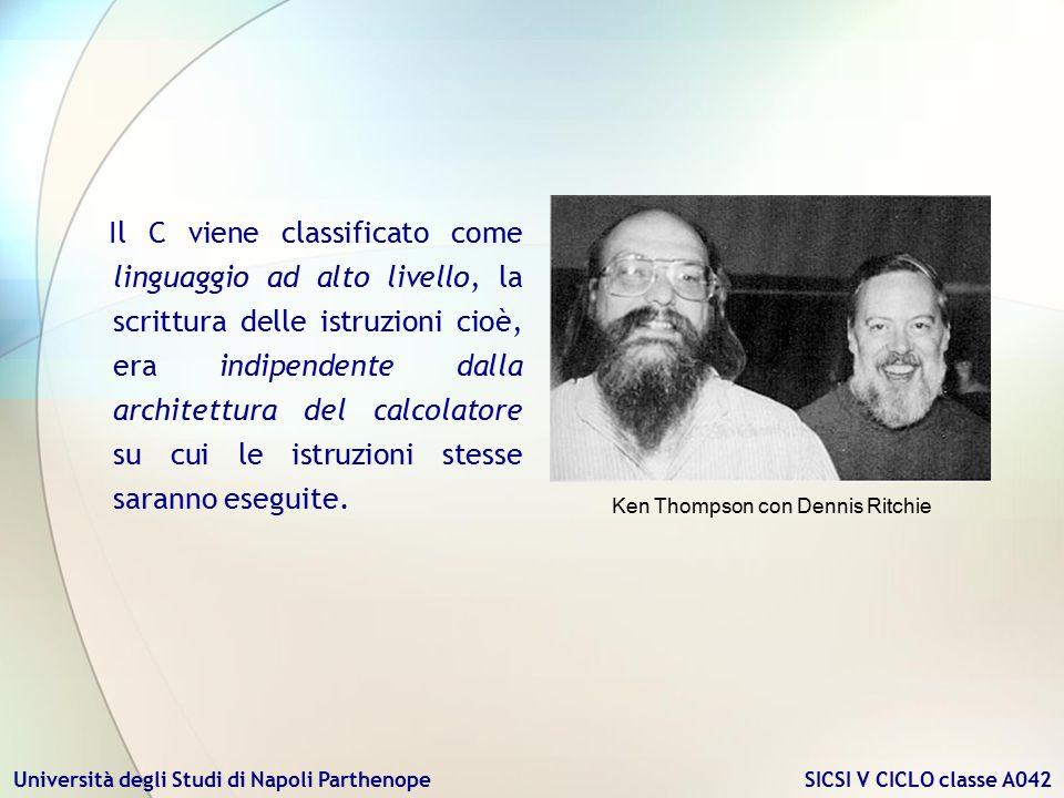 Università degli Studi di Napoli Parthenope SICSI V CICLO classe A042 Il C viene classificato come linguaggio ad alto livello, la scrittura delle istr